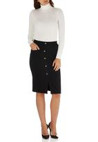 c(inch) - Front Button Midi Skirt Black