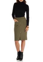 c(inch) - Front Button Midi Skirt Khaki Green