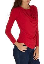 edit - Long Sleeve Cowl Top Red