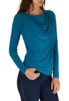 edit - Long Sleeve Cowl Top Turquoise