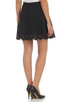 c(inch) - Laser-cut Mini Skirt Black