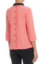 c(inch) - Blouse with Back Detail Coral