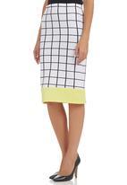 c(inch) - Colourblock Pencil Skirt Black/White Black and White