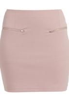 c(inch) - High waisted mini with zip detail Pale Pink