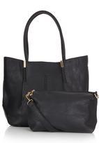 STYLE REPUBLIC - Whipstitch Trim Shopper Black