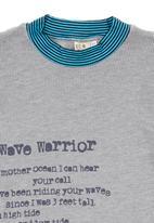 Eco Punk - Grey long sleeve tee Mid Blue