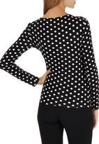 edit - Long Sleeve Wrap T-shirt Black and White