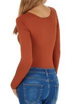 c(inch) - Long Sleeve Fitted Bodysuit Orange