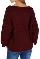 STYLE REPUBLIC - Oversized Chunky Knit Top Dark Red