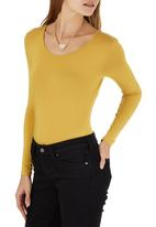 c(inch) - Long Sleeve Fitted Bodysuit Yellow