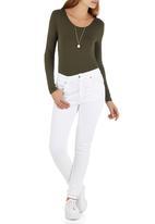 c(inch) - Long Sleeve Fitted Bodysuit Dark Green