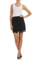 c(inch) - Mini Skirt with Lace Detail Black