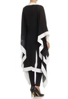 Gavin Rajah - Kimono with Contrast Satin Band Black/White Black and White