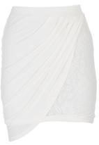 c(inch) - Mini Skirt with Drape Detail Milk