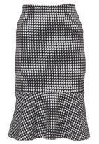 edit - Houndstooth Frill Hem Skirt Black/White Black and White