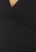 Cherry Melon - Front-wrap Long-sleeve Top Black