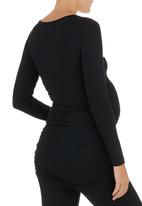 Cherry Melon - Long-sleeve Top with Side-gauge Detail Black