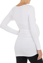 Cherry Melon - Long-sleeve Top with Side-gauge Detail White