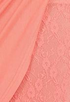 c(inch) - Mini Skirt with Drape Detail Coral