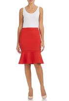 STYLE REPUBLIC - Fishtail Midi Skirt Red