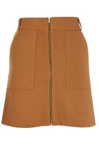 c(inch) - Zip Mini Skirt Tan