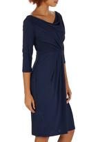 edit - V-neck Cowl Dress Navy