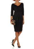 edit - V-neck Cowl Dress Black
