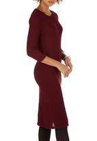 edit - Pencil Knitwear Dress Dark Red
