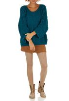 STYLE REPUBLIC - Oversized Chunky Knit Top Mid Blue