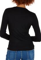edit - Long Sleeve Wrap T-shirt Black