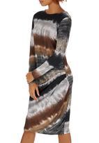 Slick - Libby Side Drape Dress Mid Brown