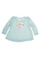 Precioux Baby - Knit top with heart applique Light Green