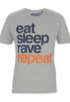 Xplicit - Rave Repeat T-shirt Grey