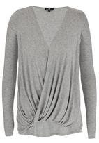 STYLE REPUBLIC - Cross-over Knit Tunic Grey Melange