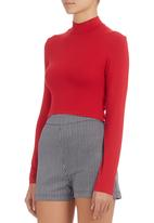 c(inch) - High-neck Crop Top Red
