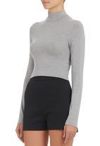 c(inch) - High-neck Crop Top Grey  Mid Grey