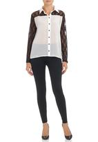 c(inch) - Shirt with Lace Detail Black/White Black and White