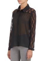 c(inch) - Shirt with Lace Detail Black