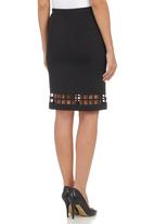 c(inch) - Laser-cut Midi Skirt Black