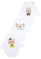 Soobe - 3 Pack Printed Babygrows White