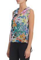 edge - Floral Open-back Blouse Multi-colour