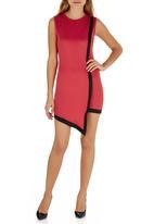 STYLE REPUBLIC - Asymmetrical Bodycon Dress Red