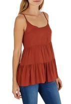c(inch) - Tiered Cami Mid Brown