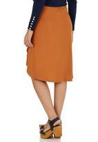 STYLE REPUBLIC - Cross Front Midi Skirt Mid Brown