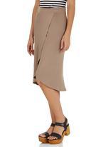 STYLE REPUBLIC - Cross Front Midi Skirt Stone/Beige