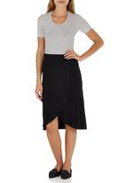 STYLE REPUBLIC - Cross Front Midi Skirt Black