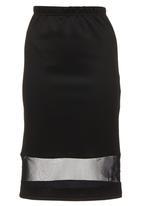 STYLE REPUBLIC - Mesh-inset Pencil Skirt Black