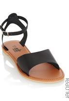 edit - Leather Ankle Strap Sandals Black