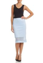 STYLE REPUBLIC - Pale blue mesh inset pencil skirt Pale Blue