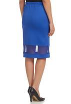 STYLE REPUBLIC - Mesh-inset Pencil Skirt Cobalt